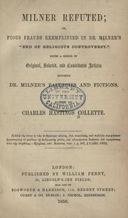 Cover of: Milner refuted | Charles Hastings Collette