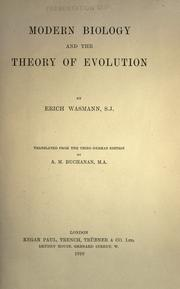 Cover of: Modern biology and the theory of evolution