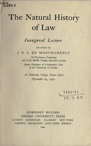 Cover of: The natural history of law
