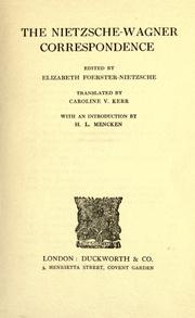 Cover of: The Nietzsche-Wagner correspondence