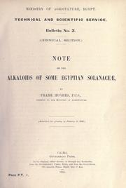 Cover of: Note on the alkaloids of some Egyptian Solanaceæ