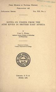 Cover of: Notes on fishes from the Athi River in British East Africa