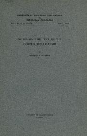 Cover of: Notes on the text of the Corpus Tibullianum | Monroe E. Deutsch