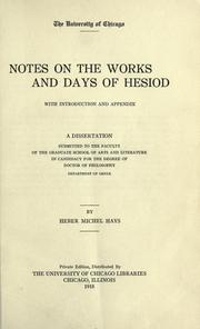 Cover of: Notes on the Works and days of Hesiod | Heber Michel Hays