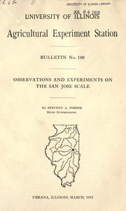 Cover of: Observations and experiments on the San Jose Scale