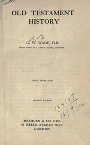 Cover of: Old Testament history | G. W. Wade