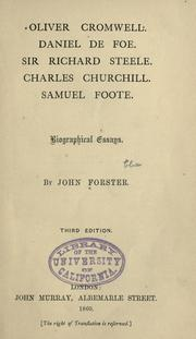 Cover of: Oliver Cromwell: Daniel Defoe, Sir Richard Steele, Charles Churchill, Samuel Foote; biographical essays.