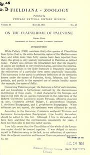 Cover of: On the Clausiliidae of Palestine