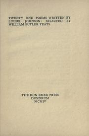 Cover of: Twenty-one poems