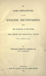 Cover of: On some deficiencies in our English dictionaries