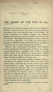 Cover of: The origin of the war of 1870