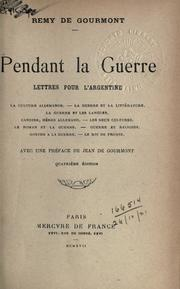 Cover of: Pendant la guerre