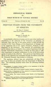 Cover of: Peruvian snakes from the University of Arequipa | Karl Patterson Schmidt