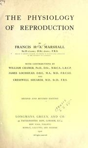 Cover of: physiology of reproduction | Francis Hugh Adam Marshall