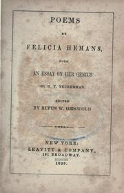 Cover of: Poems by Felicia Hemans | Felicia Dorothea Browne Hemans