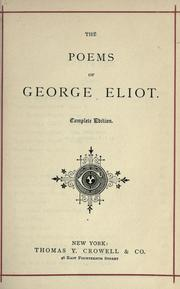 Cover of: The poems of George Eliot