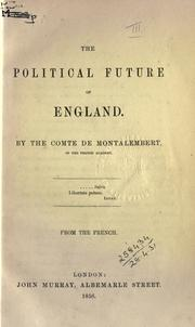 Cover of: The Political Future of England