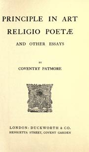 Cover of: Principle in art, Religio poetæ and other essays