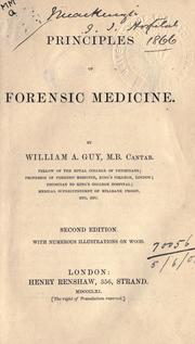 Cover of: Principles of forensic medicine