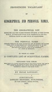 Cover of: Pronouncing vocabulary of geographical and personal names