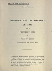 Cover of: Proposals for the avoidance of war |