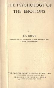 Cover of: The psychology of the emotions | ThГ©odule Armand Ribot