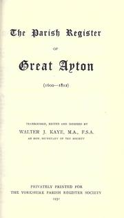 Cover of: The Parish Register of Great Ayton | Yorkshire Parish Register Society