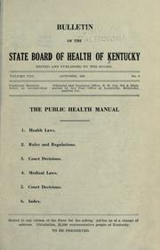Cover of: Public health manual | Kentucky. State Board of Health.
