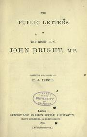 Cover of: The public letters of John Bright