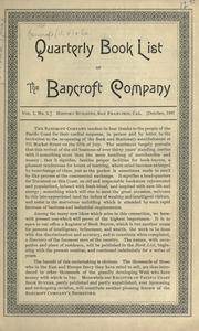 Cover of: Quarterly book list. | H.H. Bancroft and Company.