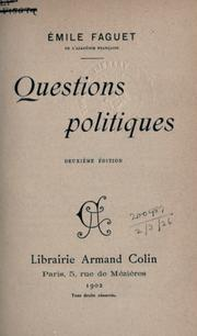 Cover of: Questions politiques