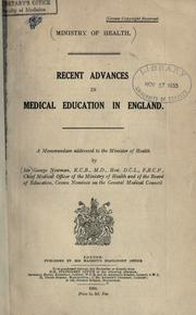 Cover of: Recent advances in the medical education in England