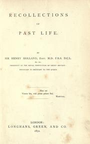 Cover of: Recollections of past life. | Holland, Henry Sir