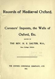 Cover of: Records of mediæval Oxford. | Oxford (England)