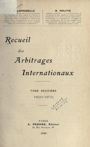 Cover of: Recueil des arbitrages internationaux ..