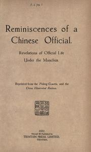 Cover of: Reminiscences of a Chinese official. |