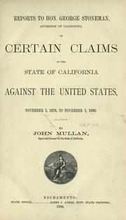 Cover of: Reports to Hon. George Stoneman, Governor of California