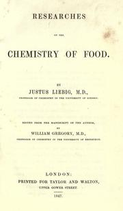 Cover of: Researches on the chemistry of food