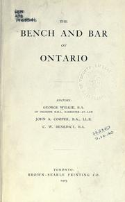 Cover of: The bench and bar of Ontario |