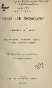 Cover of: Selected essays and monographs