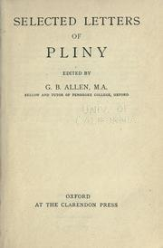 Cover of: Selected letters of Pliny: with notes for the use of schools