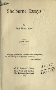 Shelburne essays by More, Paul Elmer