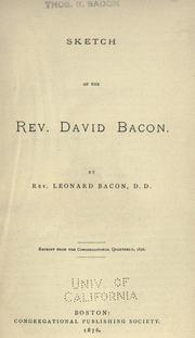 Cover of: Sketch of the Rev. David Bacon