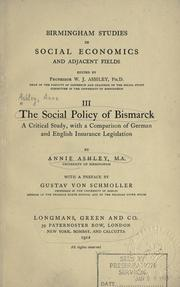 Cover of: social policy of Bismarck | Anne Ashley