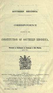 Southern Rhodesia by Great Britain. Colonial Office.