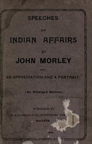 Cover of: Speeches on Indian affairs