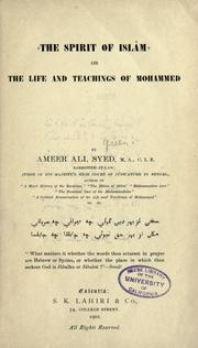 Cover of: The spirit of Islam; or, The life and teachings of Mohammed