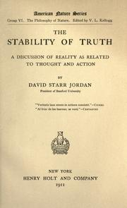 Cover of: The stability of truth: a discussion of reality as related to thought and action