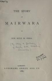 Cover of: The story of Mairwara | Henry W. Mulvany