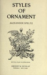 Cover of: Styles of ornament | Alexander Speltz